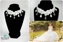 wedding photo - White wedding choker necklace with crystals and beads Statement necklace Bridal lace necklace Crystal beaded necklace Wedding Lace jewelry
