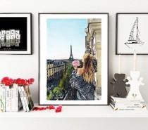 wedding photo - Paris Girl art, Paris illustration,Paris view painting, France painting, Paris print, Fashion illustration, fashion wall art, Paris wall art