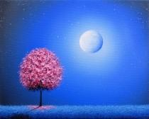 wedding photo - Cherry Blossom Tree Art Print, Whimsical Pink Tree at Night, Photo Print of Oil Painting, Affordable Art Gift, Blue Night Sky, Dreamscape