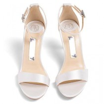 "wedding photo - Wedding Shoes - ""Vera"" Sandals In Ivory Satin"