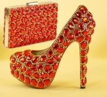 wedding photo - Red/gold Rhinestone Wedding Shoes Sets