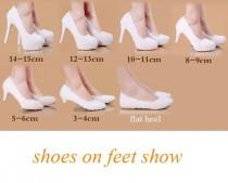 wedding photo - Beautiful Pearl And Lace White Wedding Shoes In Seven Heel Heights