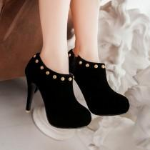 wedding photo - Flock Rivets Platform Pumps High Heel Wedding Shoes 8427