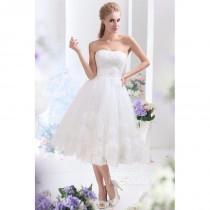 wedding photo - Dreamy A-Line Sweetheart Tea Length Tulle Wedding Dress CWLA13003 - Top Designer Wedding Online-Shop