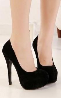 wedding photo - Classy Pure Black Round Toe High He