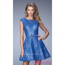wedding photo - Short Lace Cap Sleeve Dress by La Femme - Brand Prom Dresses
