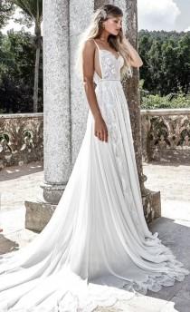 wedding photo - Spaghetti Strap Side Cut-Out Pleated Wedding Dress