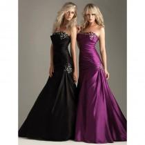 wedding photo - Pretty A-line Strapless Floor-length Sleeveless Elastic Woven Satin Prom Dresses In Canada Prom Dress Prices - dressosity.com