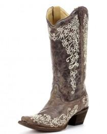 wedding photo - Women's Brown Crater Bone Embroidery Boot - A1094