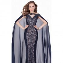 wedding photo - Navy/Nude Beaded Lace Chiffon Gown by Terani Couture Evening - Color Your Classy Wardrobe