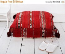 wedding photo - SPRING 30% OFF SALE /// 23''x23'' x 7'' Tribal Vintage Moroccan pouf, Red Berber pouffe, Floor cushion, Moroccan pouf, Floor pouf, Square Po