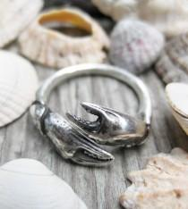 wedding photo - Seashell crab CLAW sterling silver sea shell ADJUSTABLE bypass ring sz 6 to 9 cancer zodiac