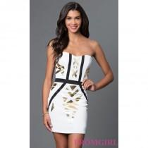 wedding photo - Print Sweetheart XOXO Dress with Removable Straps - Discount Evening Dresses