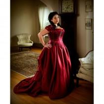 wedding photo - Plus Size Bridal Corset Gown, Bustled Long Train Wedding Skirt Red Brocade Silk Stays Curvy includes free fitting with mock-up - Hand-made Beautiful Dresses