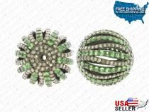 wedding photo - Round Shape Tsavorite and Diamond Silver Ball Bead with 925 Silver and Natural GemStone Tsavorite and Diamond, Diamond Findings, New designs