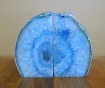 wedding photo - Agate Book End -- Blue Dyed Half Geode Druzy Bookend Rock Formation - Lovely Book Ends 1-3 lb (BKE1)