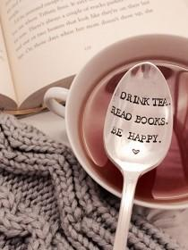 wedding photo - Drink tea, read books, be happy stamped spoon, book club gift, book lover gift, tea lover gift, unique tea spoon