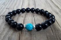 wedding photo - Black agate bracelet turquoise bracelet for men agate healing bracelet black stone bracelet motivation protection power bracelet gift idea