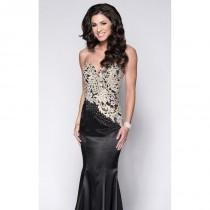 wedding photo - Black/Gold Lace Satin Gown by Envious Couture Prom - Color Your Classy Wardrobe