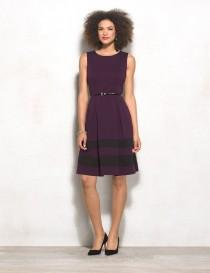 wedding photo - Belted Colorblock Fit-and-Flare Dress