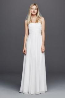 wedding photo - Chiffon Wedding Dress With Strapless Ruched Bodice Style INT15555