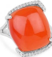 wedding photo - A Natural 7.48CT Sunset Orange Carnelian Cabochon Ring
