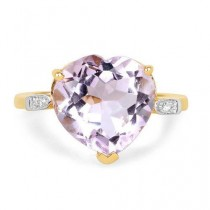 wedding photo - A Natural 5.3CT Heart Cut Rose De France Pink Amethyst 14K Yellow Gold Ring