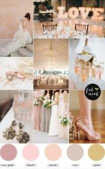 wedding photo - Rose Blush Gold Wedding Theme & Mismatched Bridesmaid Dresses