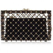wedding photo - Charlotte Olympia Handbags Linear Pandora Black And Gold Clutch