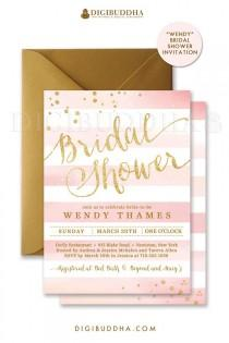 wedding photo - Blush PINK & GOLD BRIDAL Shower Invitation Stripes Printable Invite Pink Watercolor Glitter Wedding Free Priority Shipping Or DiY- Wendy