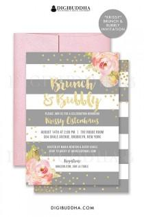 wedding photo - BRUNCH & BUBBLY INVITATION Bridal Shower Invite Pink Peonies Gray Stripes Gold Glitter Confetti Printable Rose Free Shipping Or DiY- Krissy