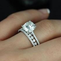 """wedding photo - Steve Padis Jewelry On Instagram: """"We Are Loving The Mix And Match Stackable Band Trend! Check Out This Subtle Shared Prong Band Setting Off The Gorgeous Cushion Center Stone…"""""""