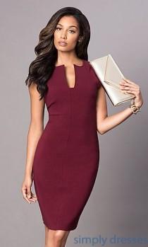 wedding photo - Cap-Sleeve Knee-Length Short Magenta-Purple Dress