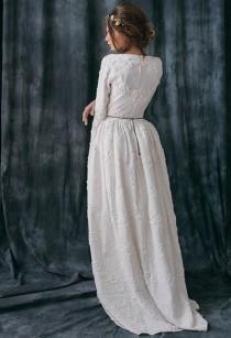 wedding photo - Rabia / Rustic Wedding Dress-long Sleeve Wedding Dress With Sleeve Country Alternative-wedding Dress Boho Wedding Dress Bohemian Wedding