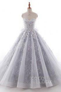 wedding photo - A-Line Chapel Train Tulle Wedding Dress LD5054