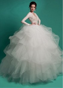 wedding photo - [209.99] Chic Tulle Queen Anne Neckline Ball Gown Wedding Dresses With Beadings - Dressilyme.com
