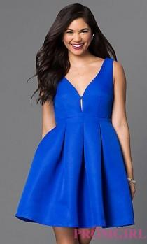 wedding photo - Fit And Flare Royal Blue Homecoming Dress