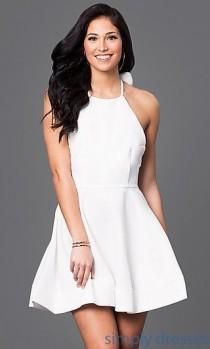 wedding photo - Short Open-Back Halter Dress With Long Back Bow