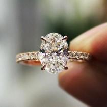 wedding photo - 2.30 Ct. Natural Oval Cut Pave Diamond Engagement Ring - GIA Certified