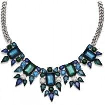 wedding photo - Mixit™ Blue And Teal Crystal Silver-Tone Statement Necklace