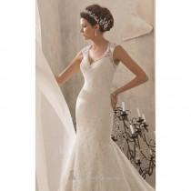 wedding photo - Beaded V Neckline Poetic Lace Gown by Blu by Mori Lee - Color Your Classy Wardrobe