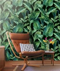 wedding photo - Tropical Leaves Wall mural -Self Adhesive Fabric Wallpaper, Removable, Repositionable, Reusable. EASY PEEL & STICK !!R0006