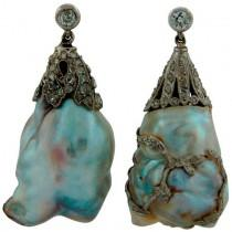 wedding photo - Art Deco Natural Saltwater Baroque Pearl Diamond Platinum Earrings