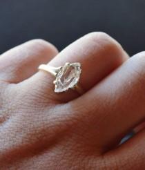 wedding photo - Rough Uncut Raw Diamond Ring Sterling Silver Engagement