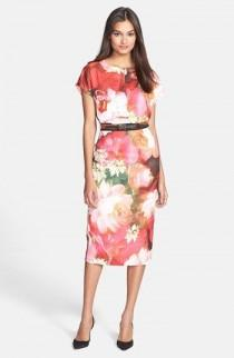 wedding photo - Ted Baker London 'Rose On Canvas' Print Midi Dress