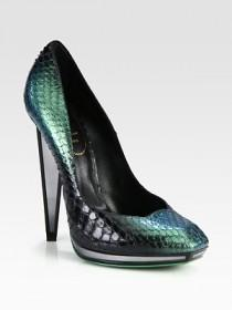 wedding photo - Yves Saint Laurent - Snakeskin Mirror Heel Platform Pumps