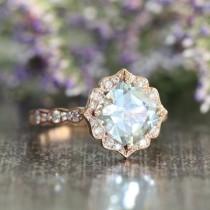 wedding photo - Vintage Floral Aquamarine Engagement Ring In 14k Rose Gold Scalloped Diamond Wedding Band 8x8mm Cushion Cut Gemstone Ring March Birthstone