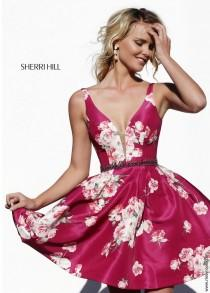 wedding photo - Sherri Hill 32321 Floral Print Short Dress