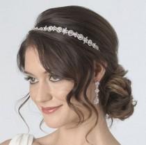 wedding photo - Antique Silver Bridal Headband, Art Deco Bridal Headband, Jeweled Wedding Headband, Vintage Rhinestone Headband, Vintage Headband ~TI-3158