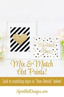 wedding photo - Mocktail Bar Sign - Black Gold Glitter Sweet 16, Baby Or Bridal Shower Ideas, Sip N See Party Sign, Birthday Party Printable 10X8 Table Sign